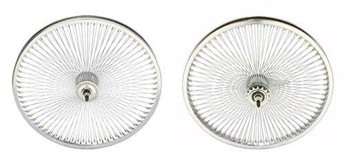 Lowrider Chrome 20' 144 Spoke Wheel Set. Front and Back Coaster Wheel