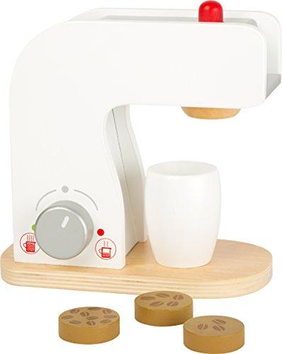 Small Foot 10593 Kaffeemaschine aus Holz mit Dreh-und Druckknöpfen sowie Kaffeetasse und Holzplättchen mit Kaffeebohnen-Ausdruck als Inhalt, ideales Zubehör für die Kinderküche