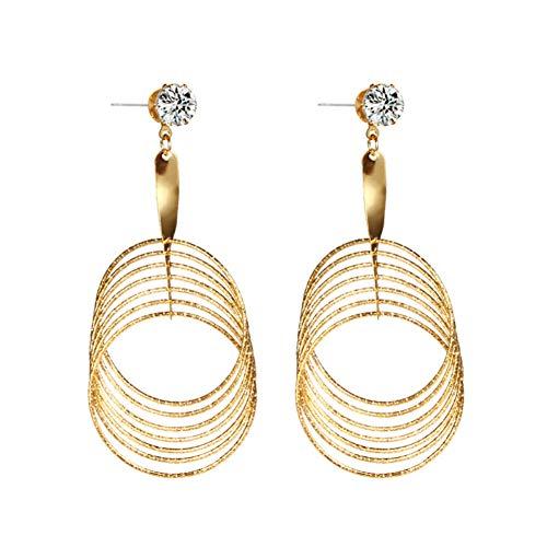 WFZ17 Pendientes colgantes de diamantes de imitación con forma de círculo trenzado para mujeres y niñas, color dorado 2