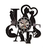 LanLan I Love Cats Record Reloj de pared Vintage LED Vinilo Reloj de Gatito Arte Silencioso Único Reloj decorativo 3D colgante CD de pared 7 gatos, A (sin LED)