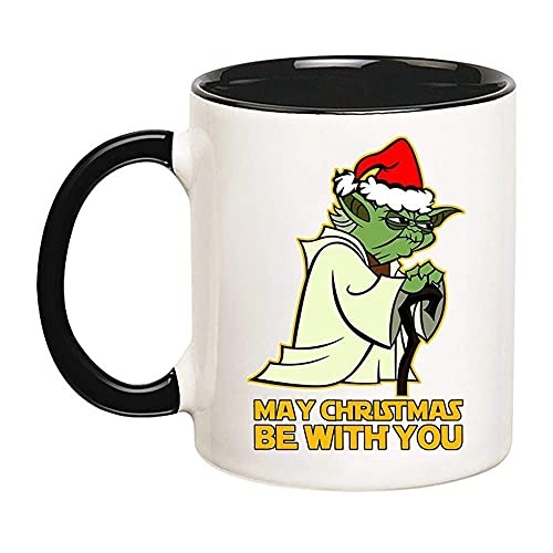 N\A May Christmas Be with You Yoda, Descarga Digital, Descarga PNG, diseño de sublimación, Navidad PNG, Navidad (Negro), Taza de café de cerámica de 11 oz