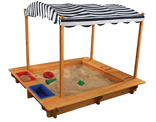 KidKraft Outdoor Covered Wooden Sandbox with Bins and Striped Canvas Canopy, Navy & White ,Gift for Ages 2-8