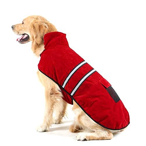 PetSupplies hondenspeelgoed voor honden, modieus, duurzaam, herfst en winter, Golden Retriever, Labrador, katoen, met reflecterende band, Maat: L, borstomvang: 64 - 72 cm, hals: 39 - 44 cm, veilig en comfortabel, Wijn Rood