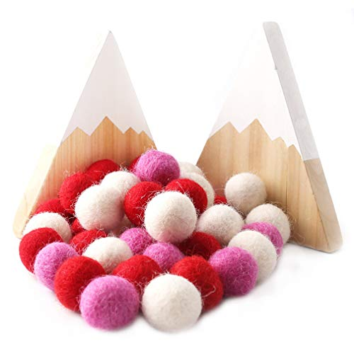 Promise Babe Boules de Feutre de Laine 100% 20mm - 50pc Feutrée à la Main Pompons - Perles de Laine Pure - Felt Ball DIY