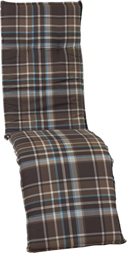 Beo Karierte Gartenstuhl Sitzauflage Relax Auflage braun hellblau weiß