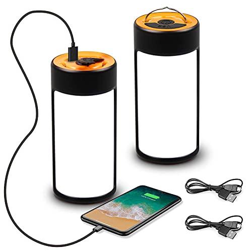 2 Piezas LED Linterna Camping USB Recargable Camping Lámpara 5 Modos 360° iluminación Portátil Impermeable Lamp Camping Banco de Energía para Pesca Excursión Jardín Patio