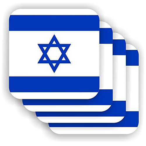 FanShirts4u Untersetzer/Bierdeckel - ISRAEL - Drink Coaster Flag Flagge Fahne 4 Stück