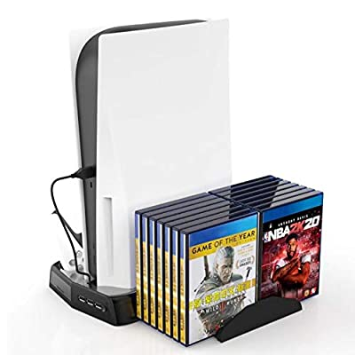 Vertical Stand for PS5 Digital Edition/Ultral HD Console with Built-in 2 Cooling Fans and Non-Slip Feet, Dual Charging Stand for Playstation 5 DE/UHD Console.