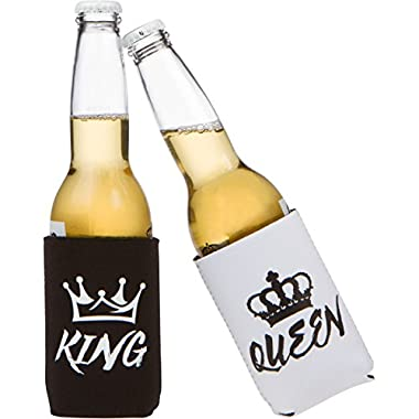 Wedding Gift - Anniversary Gift - Engagement Gift - King and Queen Can Cooler Set for Couples or Newlyweds