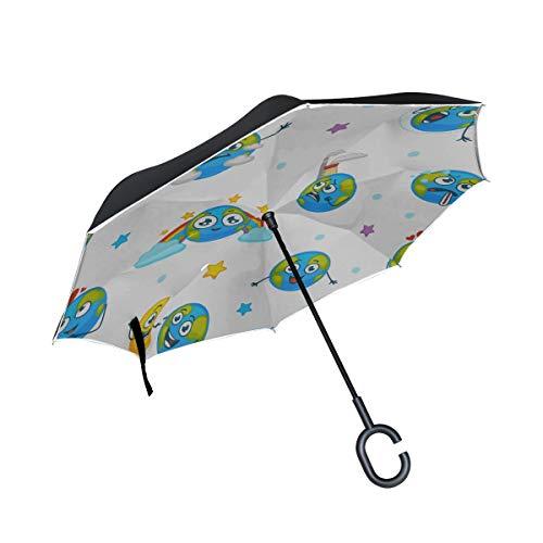 Paraguas invertido de Doble Capa Planeta Tierra Invertida Expresando emociones Paraguas Emojis Paraguas invertido A Prueba de Viento A Prueba de Viento Protección UV para la Lluvia con Mango en Forma
