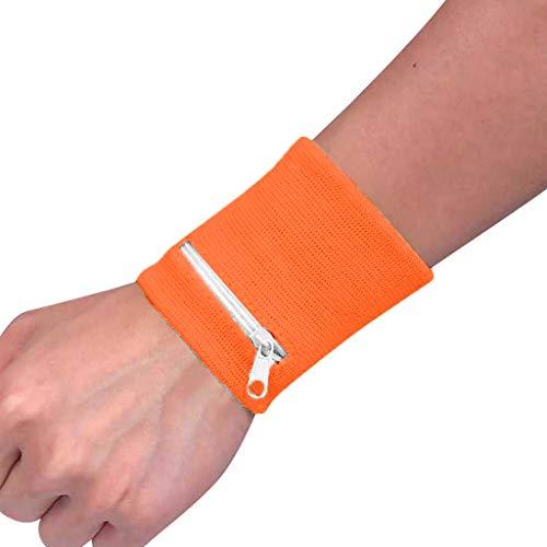 DAKERTA Schweißband für Arm, Hand und Handgelenk, Schweißarmband mit Zipper Reißverschluss Reissverschluss für Herren und Damen Handgelenktasche Schlüsselarmband Geldbörse Armband (Orange)