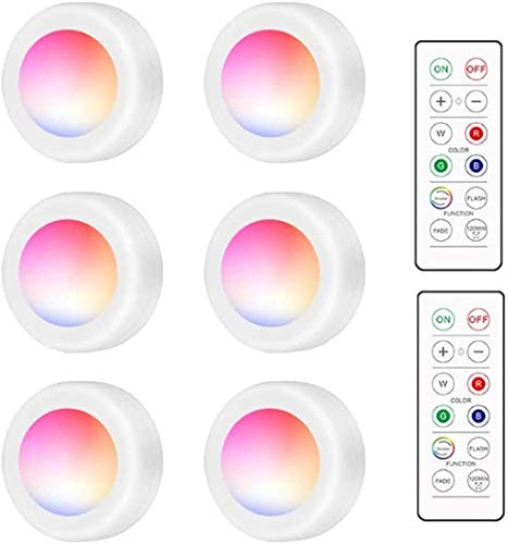Swonuk Wireless LED Luci Armadio, 6 Pack Faretto a soffitto RGB 16 Lampade Dimmerabili Colorate Faretto Illuminazione Atmosfera Mood Illuminazione Decorativa con Telecomandoe Sensore