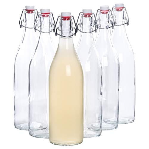 Bormioli Giara - Conjunto de 6botellas de cristal con cierre abatible y 1.000ml de capacidad, altura total xx, perfectas para rellenar con aceite, personalizar licores o servir agua, zumos y vinos