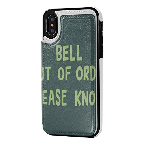 Bell Out of Order Please Knock iPhone X/XS Leather Case with Credit Card Holder Protective Case Double Magnetic Clasp and Durable Shockproof Cover