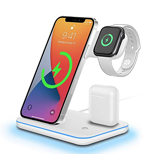 DONGSHIN Wireless Charger 15W Fast Wireless Charger Stand 3 in 1 QI Fast Charging Station for Apple...