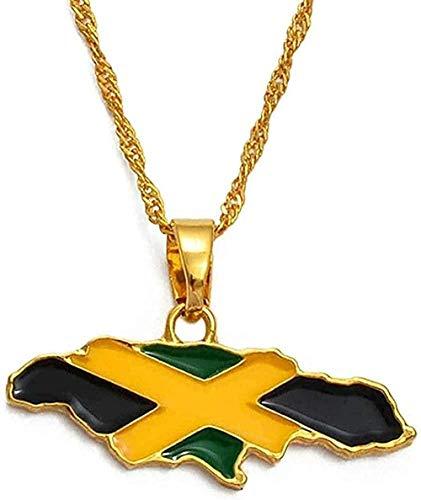 LLJHXZC Collar Mujer Collar Hombre Collar Mapa de Jamaica y Bandera Nacional Collares Pendientes Joyas de Color Dorado Regalos de Jamaica Mapas Regalo Niñas Niños Collar