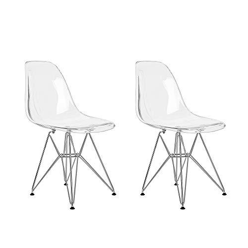 Lot de 2 Ghost Chaises en Polycarbonate, Acier pour Salle à Manger, Salon, Bureau, 40 x 46 x 86 cm, Transparent