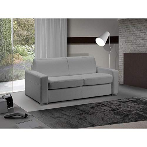 Canapé lit 2-3 Places Master Convertible Ouverture RAPIDO 120 cm Cuir Eco Gris Silex Matelas 18 CM Inclus