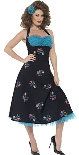 Ladies 1950s 50s Cha Cha DiGregorio Grease Film Fancy Dress Costume Outfit UK 12-14 & UK 16-18 (UK 16-18) Blue