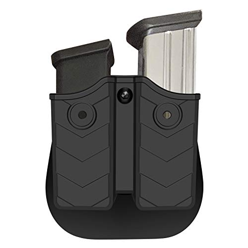 Universal Pistol Mag Pouch, 9mm .40 Double Magazine Pouch with Paddle Belt Clip, Tactical OWB Magazine Holster, Dual Stack Mag Holder fit Glock S&W Beretta Sig Sauer Browning Taurus H&K