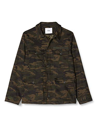 Marchio Amazon - find. Giacca in Cotone Uomo, Verde (Camoflauge), M, Label: M