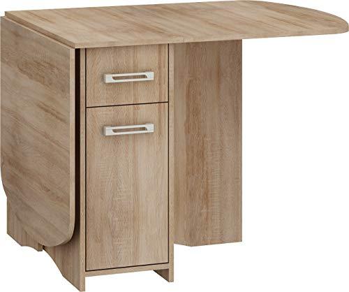 BIM Furniture Mesa extensible HOMI Mini 10, 160 x 80 x 75 cm, mesa de cocina, mesa de comedor, mesa ovalada con armario y cajones (roble sonoma)