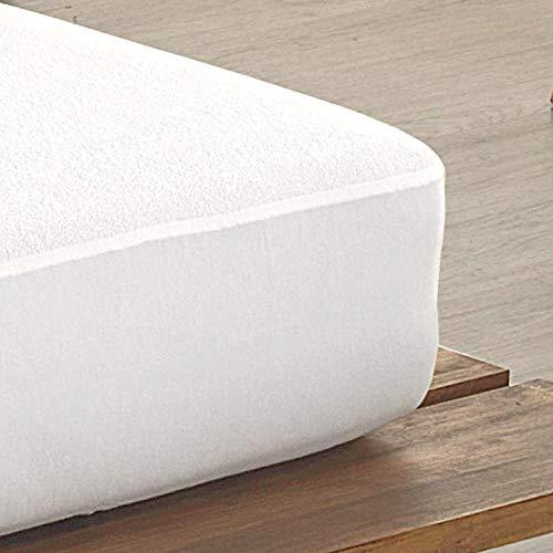 Todocama - Protector de colchón, de Rizo, Ajustable, 100% Impermeable con Tratamiento antiácaros, Fabricado con algodón biorgánico. (Cama 135 x 190/200 cm)