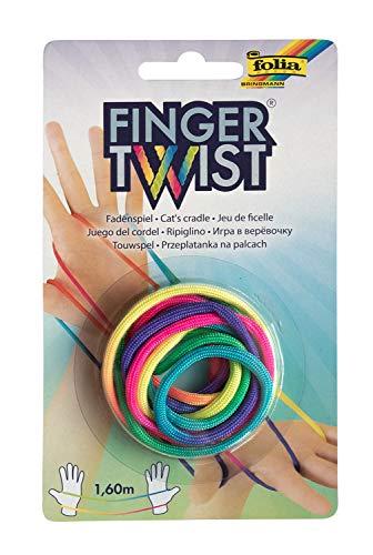 folia 33177 Finger Twist Fadenspiel, in Trendiger Regenbogen-Optik, ca. 160 cm lang, Fingerspiel für Jungen und Mädchen ab 5 Jahre, ideal als kleines Geschenk, Mitgebsel und für den Schulhof