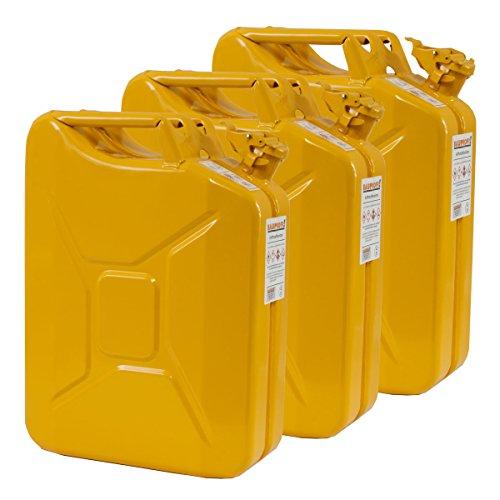 3x 20 Liter Benzinkanister Metall GGVS mit Sicherungsstift gelb Blech 3er Set