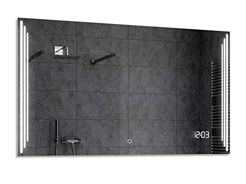 Alasta® Premium Badkamerspiegel met Verlichting - 70x150 cm - Model Praga - Spiegel met Aanraaklichtschakelaar en LED Klok