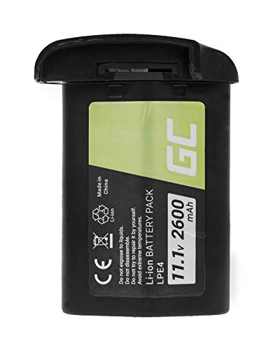 Green Cell® LP-E4 LP-E4N LPE4 LPE4N Kamera-Akku für EOS 1D C 1D Mark III 1D Mark IV 1D X 1Ds Mark III, Full Decoded (Li-Ion Zellen 2600mAh 11.1V Schwarz)