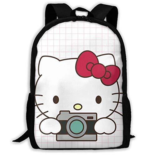 Mei-shop Mochila Informal: Elegante Bolso Escolar con Cremallera y Estampado de Hello-Kitty Mochila de Viaje Mochila-EP