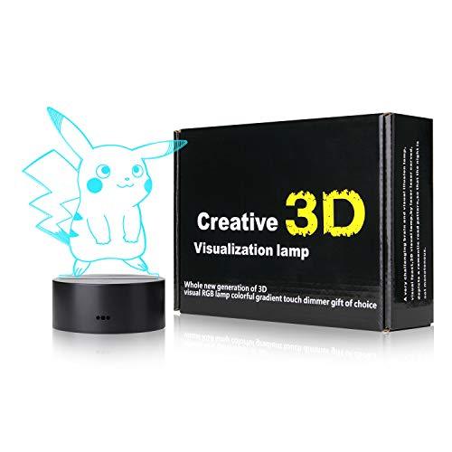 3D Illusion LED Night Light,7 Farben schrittweiser Wechsel des Touch Switch USB-Tischlampe für Weihnachtsgeschenke oder Home Dekorationen in der Nähe von- Pokemon Pikachu