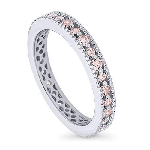 BERRICLE Rhodium Plated Sterling Silver Stackable Milgrain Art Deco Anniversary Fashion Right Hand Eternity Band Ring Made with Swarovski Zirconia Morganite Color Size 7