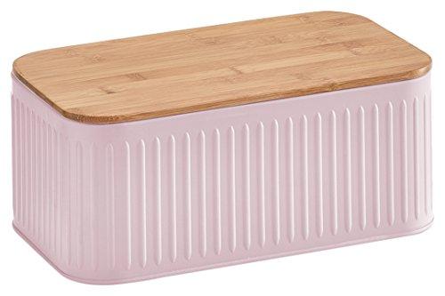 Zeller 25160 Brotkasten mit Bamboodeckel, Brotkasten, Metall, rosé, 30 x 18 x 13 cm