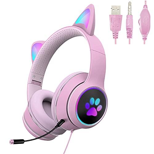 POTIKA Fone De Ouvido Para Jogos De PC Com Som Estéreo Surround De 7.1 Canais, Iluminação LED Com Microfone De Redução De Ruído, Fones De Ouvido Para Jogos Com Orelhas De Gato Bonitas, Rosa