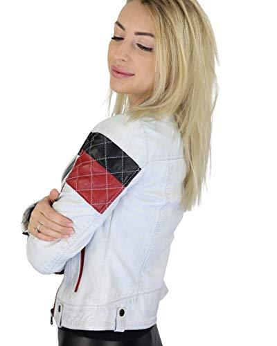 COCO BLACK LABEL since1986 Damen Lederjacke Lammnappa Lammleder Lederjacke Scarlett rot weiß schwarz, Farbe:D-Art Weiß, Größe:36