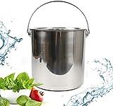 12 L Refrigeratore Latte Alimentare Cucina Secchio Acciaio Inox Secchio Secchio Champagne con Coperchio in Acciaio Inox,Argento