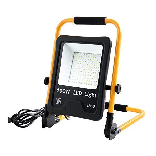 LZQ LED Flutlicht Baustrahler Tragbare 100W Kaltweiß - inkl. Standgestell und Tragegriff- Außenleuchte Strahler Wasserdicht IP66 Flutlichtstrahler Scheinwerfer Licht für Garten, Garage