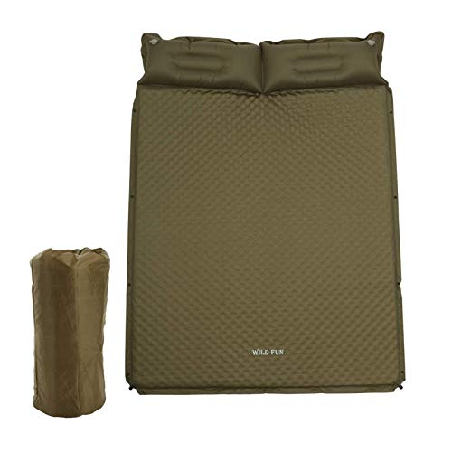 WILD FUN 2 Person Double Self-Inflating Sleeping Pad with Pillow,Lightweight,75' x 52' Sleep Mat, Moisture-Proof Camping Pad, Perfect for Hiking & Backpacking (Olive Green)