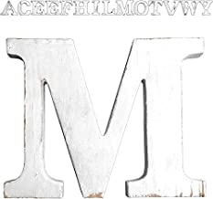 D Extra Large Wood Decor Letters Wood Distressed White Letters DIY Block Words Sign Alphabet Free Standing Hanging for Home Bedroom Office Wedding Party
