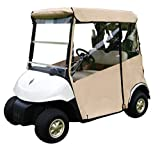 "Tan Golf Cart Cover – 3-Sided ""Over-The-Top"" Cart Cover for 1994-2013 EZGO TXT –Drivable Golf Cart Cover Enclosure – Marine Grade Vinyl – Tan Rain Cover for Golfers– Fits Over Golf Bags"