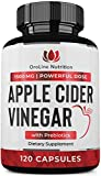 Organic Apple Cider Vinegar Capsules (120 Capsules | 1500 mg) with Prebiotics |...
