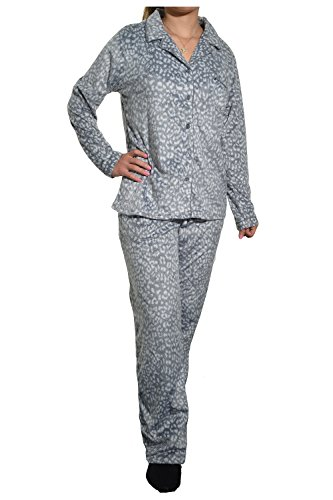 Aria Collection Women's Sueded Microfleece 2-Piece Pajama Set, Grey Animal, Large
