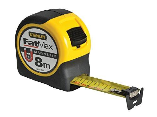Stanley FatMax Bandmaß Blade Armor, Magnethaken (8 m Länge, Feststeller, automatischer Rücklauf, Gürtelclip) FMHT0-33868