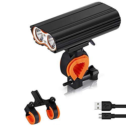 Fahrradbeleuchtung, USB aufladbare Fahrrad-Scheinwerfer-Licht 2400 Lumen Scheinwerfer-Set mit 4400mAh, 4 Modi, 2X LED, IP65 wasserdicht einen.Kreislauf.durchmachengebirgsfahrrad mit 2 Halter, Rücklic