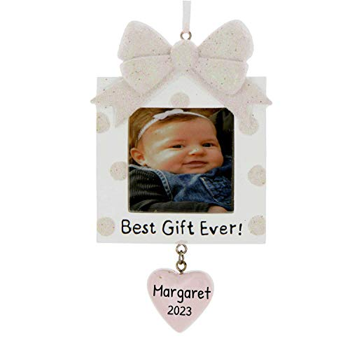 Personalized Present Picture Frame Christmas Tree Ornament 2021 - Square Pink Glitter Best Baby s 1st Photo Display Ever Girl's First New Mom Shower Milestone Memory Gift Year - Free Customization