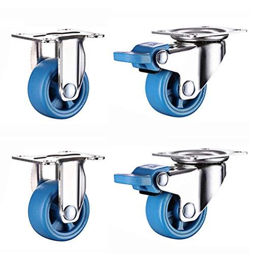 4 Piezas de Ruedas de Repuesto para Muebles pequeños: Ruedas giratorias, Ruedas de Goma Resistentes al Desgaste, 25/38/50 mm (1/1,5/2 Pulgadas) con Freno/con Placa de Metal
