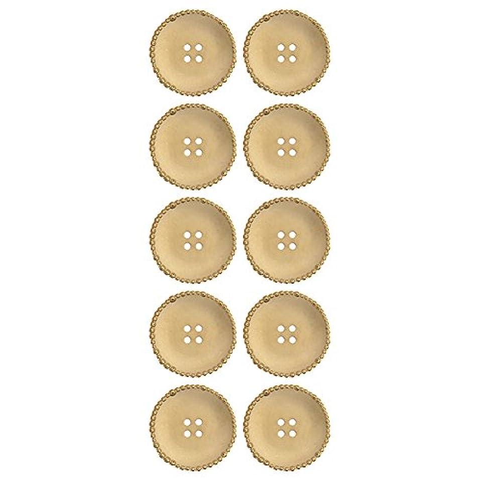 ABS Metal Plated Button 4 Hole Saucer Shape With Beaded Rim 36 Line Matt. Gold