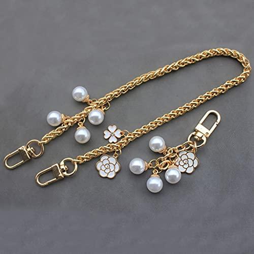 XJJZS Las Mujeres Dulces imitan la Bolsa de Hombro de la Perla Cadena de Oro DIY Cadena de Metal de la Cadena de la Moda de la Correa de la Correa para Bolsos Accesorios (Size : 120 cm)